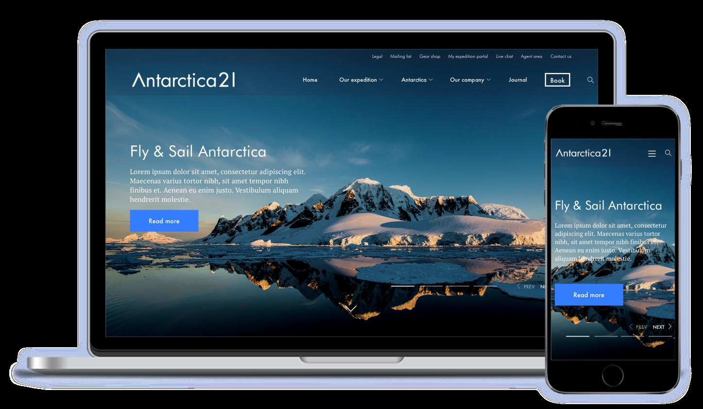 Mockups Antarctica21 website