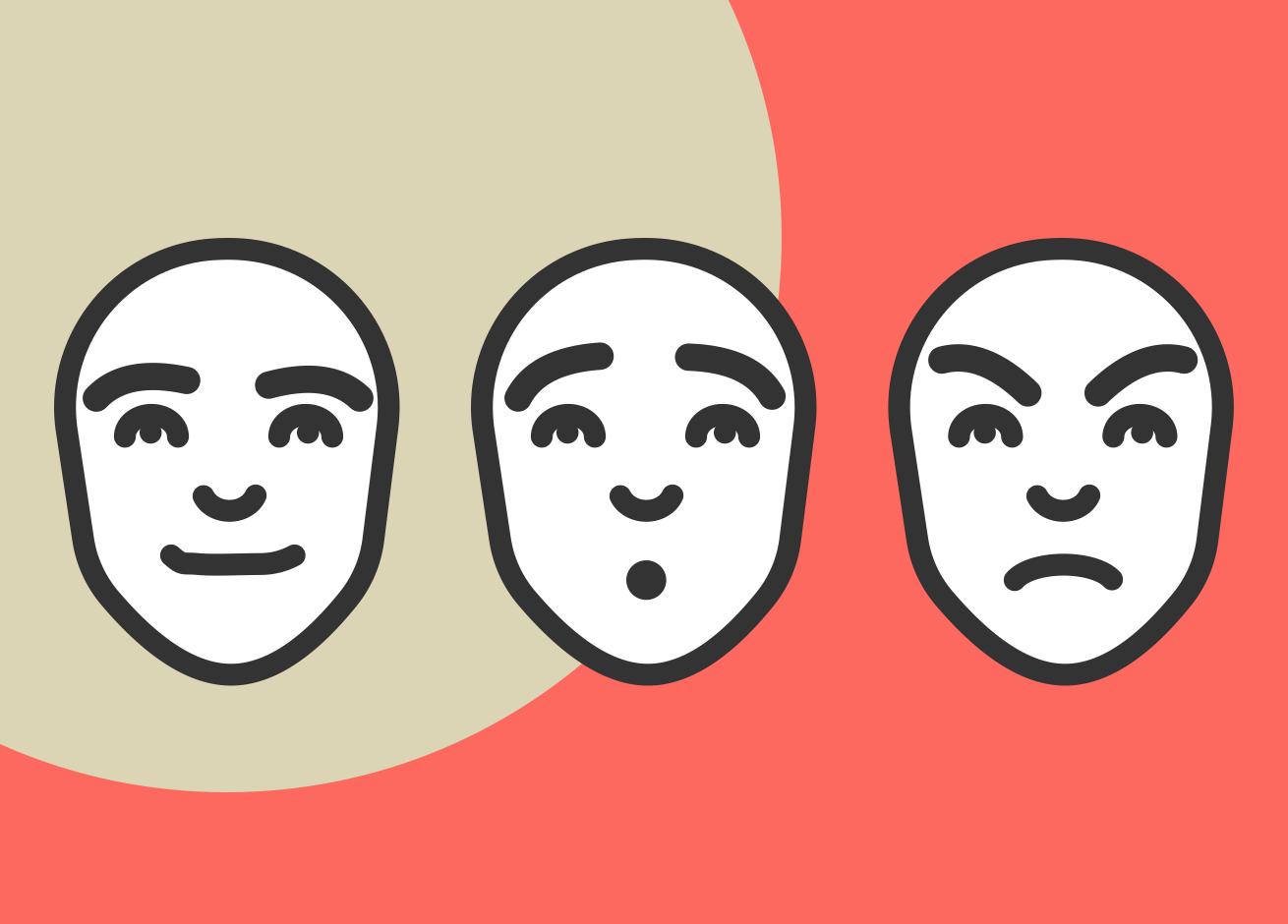 Tres rostros con muecas de felicidad, sorpresa y enojo.