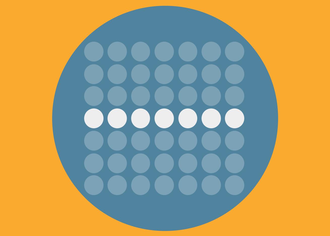 Se presenta una imagen de un círculo con círculos pequeños que permite identificar la Ley de Miller. Una de las Leyes de UX.