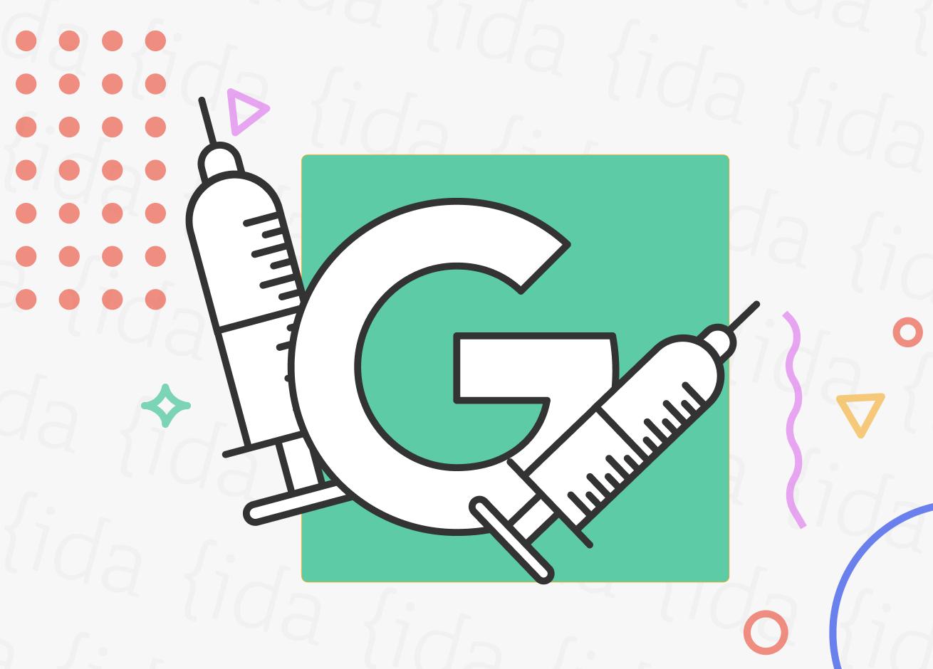 """Una """"G"""" que hace referencia a Google con dos vacunas a su costado."""